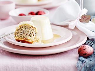 Yoghurt and cardamom panna cotta with baklava biscotti