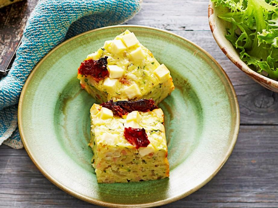 "**[Zucchini and feta slice](https://www.womensweeklyfood.com.au/recipes/zucchini-and-feta-slice-16712 target=""_blank"")**"