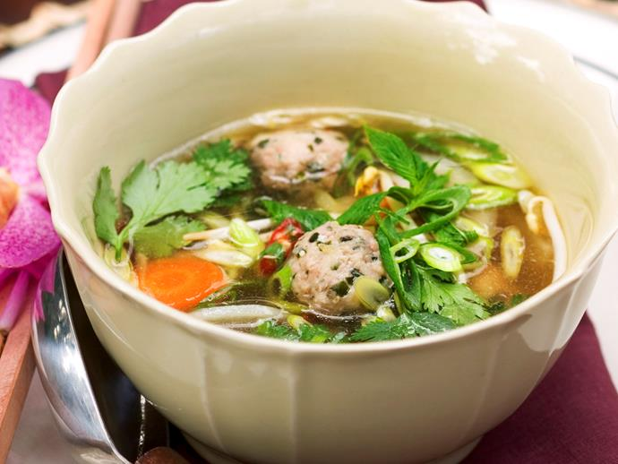 "**[Pho soup with chicken dumplings](https://www.womensweeklyfood.com.au/recipes/pho-soup-with-chicken-dumplings-10053|target=""_blank"")**  With fragrant herbs, lemongrass and ginger, this wonderful Vietnamese soup is healthy and utterly delicious."