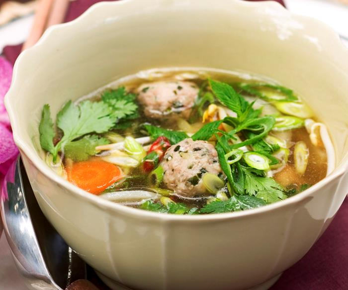 Pho soup with chicken dumplings