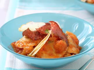 Angnolotti with salami and capsicum sauce