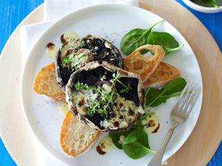 Barbecued mushrooms with parmesan cream
