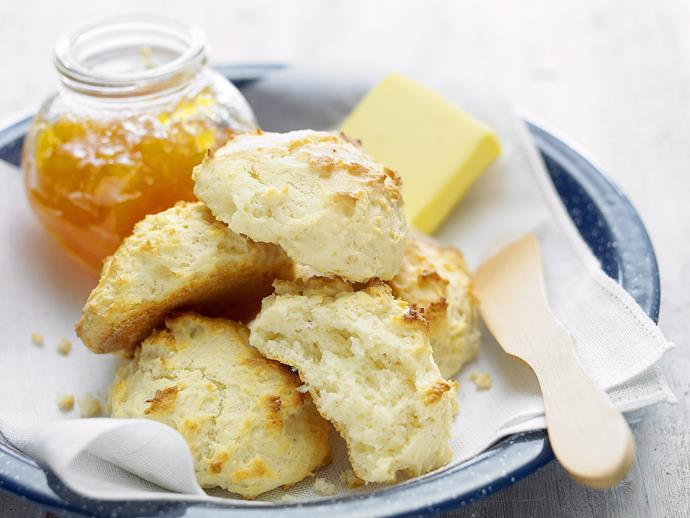 "These [light and fluffy scones](https://www.womensweeklyfood.com.au/recipes/butterless-scones-27028|target=""_blank"") are made without butter to create a beautiful morning tea treat with less fat. Serve them warm with a slice of sweet jam for a beautiful treat."