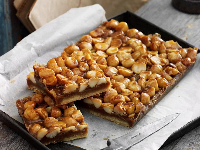 """This [classic caramel slice](https://www.womensweeklyfood.com.au/recipes/caramel-macadamia-slice-10092