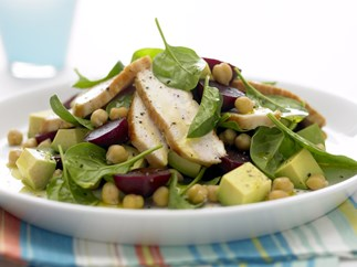 Chicken, Baby Spinach and Beetroot Salad