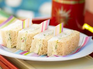 Crab, cream cheese and cucumber sandwiches