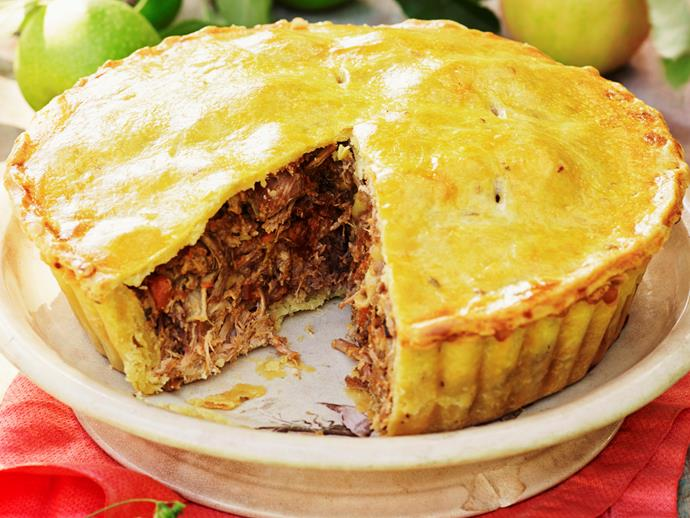"[Apple and pork pie](https://www.womensweeklyfood.com.au/recipes/apple-and-pork-pie-28068|target=""_blank"")"