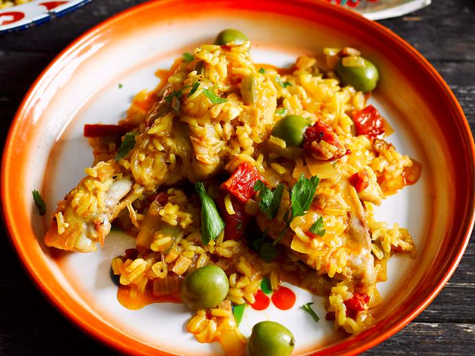 "This traditional [Spanish arroz con pollo](https://www.womensweeklyfood.com.au/recipes/arroz-con-pollo-27084|target=""_blank"") combines delicious spiced rice and vegetables with tender chicken to bring a unbeatable one-pot family dinner."
