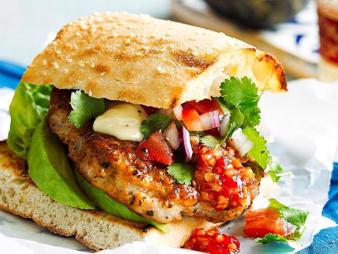 "**[Cajun-spiced chicken burgers](https://www.womensweeklyfood.com.au/recipes/cajun-spiced-chicken-burgers-23772|target=""_blank"")**"