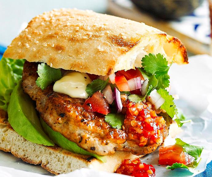 Cajun-spiced chicken burgers