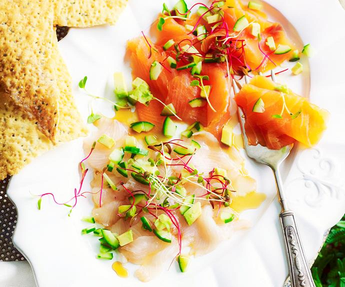 Carpaccio of fish with tangy dressing