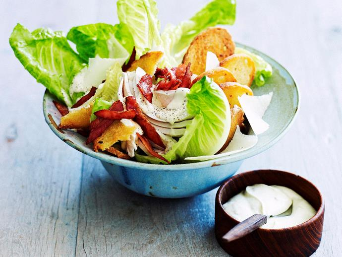 """**[Chicken caesar salad](https://www.womensweeklyfood.com.au/recipes/chicken-caesar-salad-27089 target=""""_blank"""")**  Fit to enjoy anytime as an accompaniment or stand-alone dish, this fresh and crunchy classic salad oozes flavour and can hit your table in no time."""