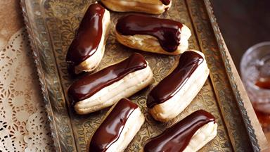 Chocolate and caramel eclairs
