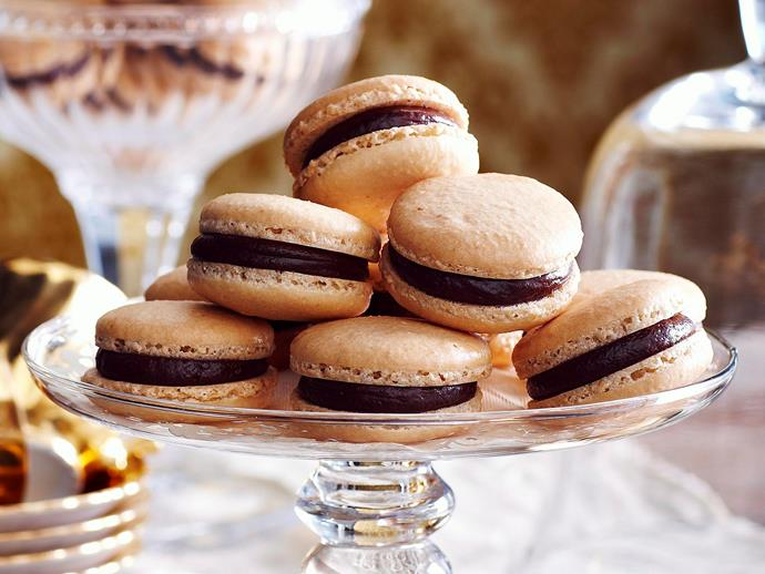 "These [chocolate and caramel macarons](http://www.foodtolove.com.au/recipes/chocolate-and-caramel-macarons-4745|target=""_blank"") are a wonderfully indulgent French treat."