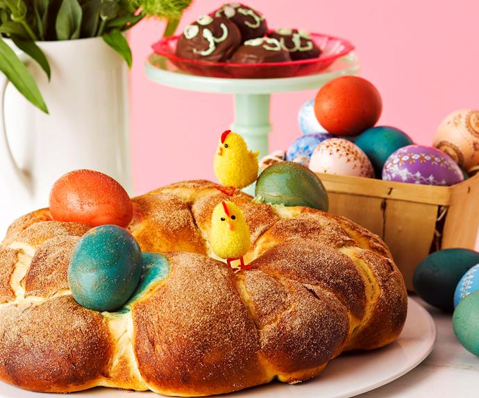 Easter bread with dyed eggs