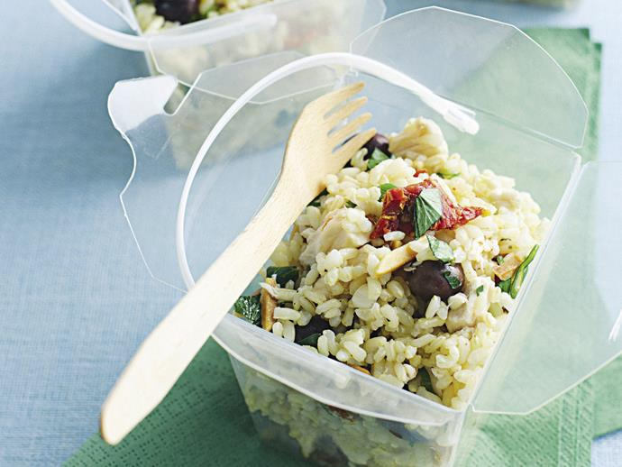 "This humble [chicken and brown rice salad](https://www.womensweeklyfood.com.au/recipes/italian-brown-rice-salad-27909|target=""_blank"") offers a taste of Italy, with the hero its lemon mustard dressing."