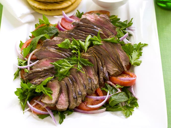 """**[Lamb with tomato salad and mint yogurt](https://www.womensweeklyfood.com.au/recipes/lamb-with-tomato-salad-and-mint-yogurt-28300 target=""""_blank"""")**  It's hard to imagine a better pairing than tender seasoned lamb and mint yoghurt. Served with pitta bread, this becomes ideal for any upcoming party or family gathering."""