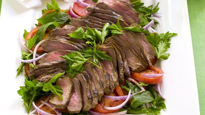 LAMB WITH TOMATO SALAD AND MINT YOGURT