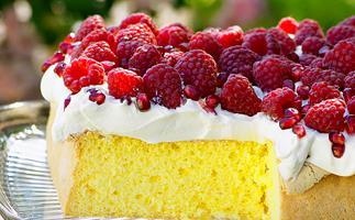 Raspberries and Cream Sponge Cake