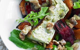 Roasted vegetable and herbed ricotta salad