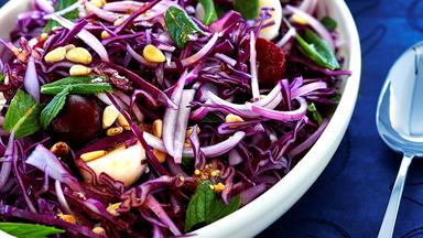Red cabbage, potato and beetroot salad