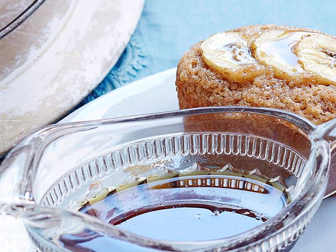 """These delectably [sticky banana maple friands](https://www.womensweeklyfood.com.au/recipes/banana-maple-friands-16349