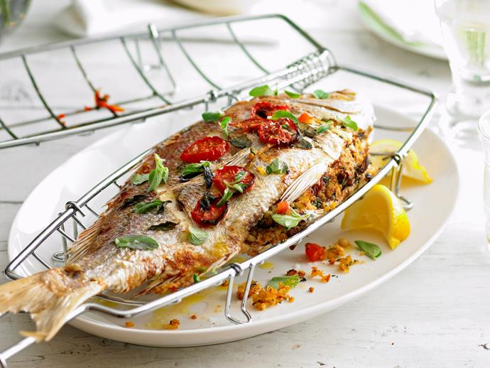 """[Barbecued whole snapper with pine nut stuffing](http://www.foodtolove.com.au/recipes/barbecued-whole-snapper-with-pine-nut-stuffing-5009