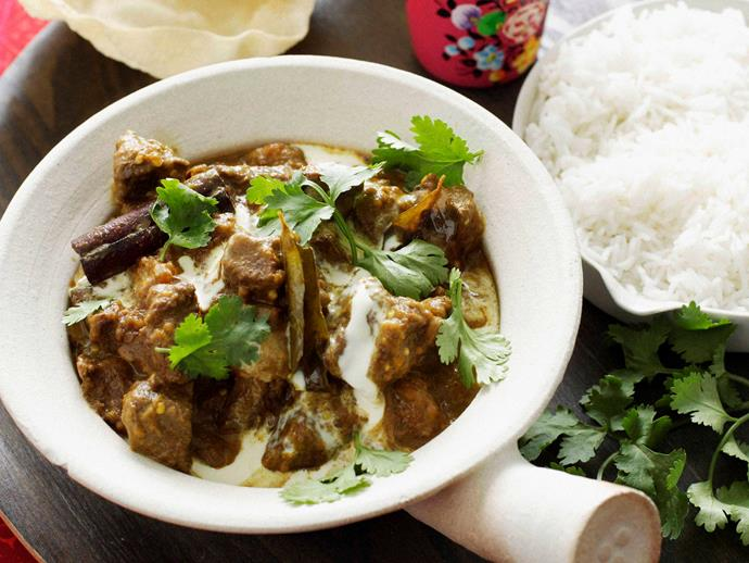 "**[Beef, pumpkin and eggplant curry](https://www.womensweeklyfood.com.au/recipes/beef-pumpkin-and-eggplant-curry-23019|target=""_blank"")**"