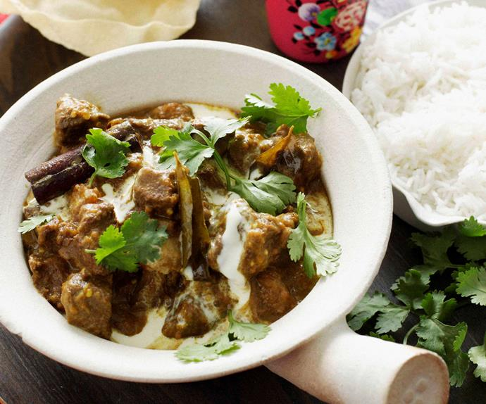 Beef, pumpkin and eggplant curry
