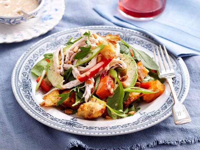 Chicken kumara and pine nut salad