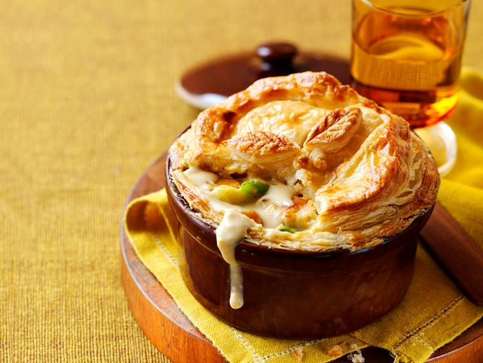 "**[Chicken, leek and pumpkin pot pies](https://www.womensweeklyfood.com.au/recipes/chicken-leek-and-pumpkin-pot-pies-23068|target=""_blank"")**"