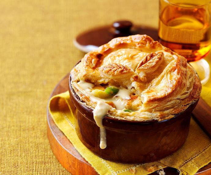 Chicken, leek and pumpkin pot pies