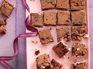 Choc, coconut and cranberry no-bake slice