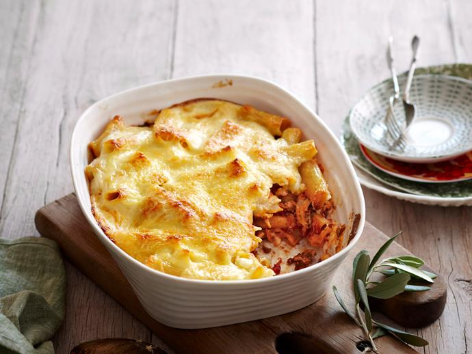 "Combine two favourites with this [creamy bolognese pasta bake](https://www.womensweeklyfood.com.au/recipes/creamy-bolognese-pasta-bake-23097|target=""_blank""), topped with a creamy white sauce."