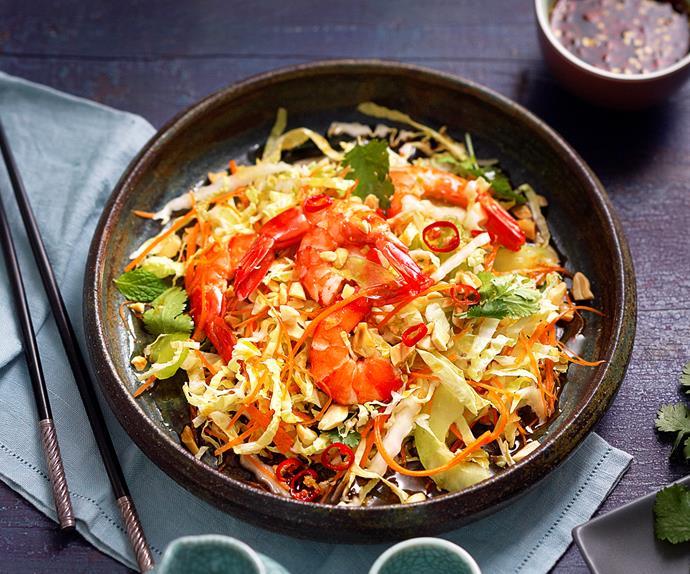 Crunchy wombok and prawn salad