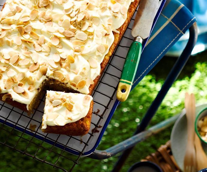 Crushed pineapple and banana slab cake