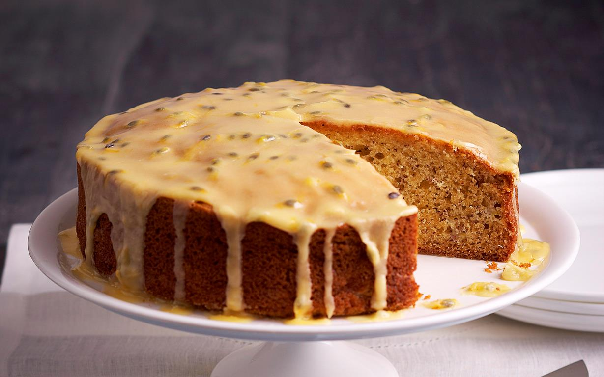Dairy Free Banana Cake With Passionfruit Icing