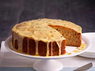 Dairy-free banana cake with passionfruit icing