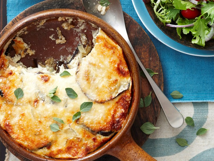 Eggplant, goats cheese and parmesan bake