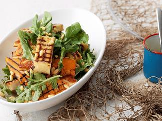 Haloumi, pumpkin and rocket salad