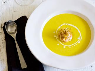 sweet corn soup with prawns