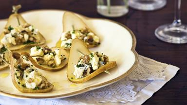 Pear, blue cheese and walnut bites