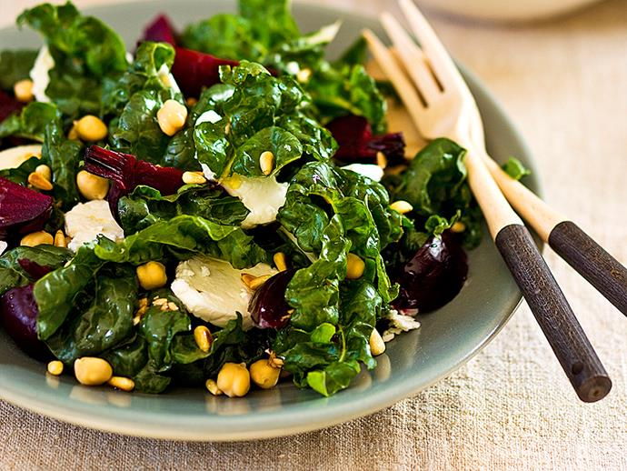 "**[Silverbeet, beetroot and sheep's milk feta salad](https://www.womensweeklyfood.com.au/recipes/silverbeet-beetroot-and-sheeps-milk-feta-salad-22797|target=""_blank"")**"