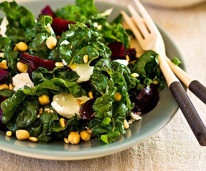 Silverbeet, beetroot and sheep's milk feta salad