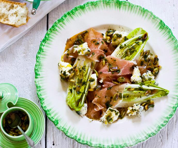 Witlof, blue cheese and prosciutto salad