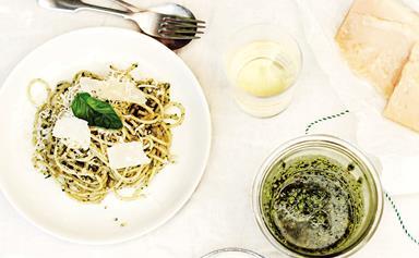 Spaghetti with homemade pesto