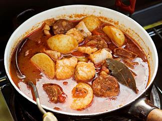 Mediterranean fish and chorizo soup