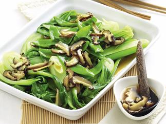 Asian Greens with Chinese Mushrooms