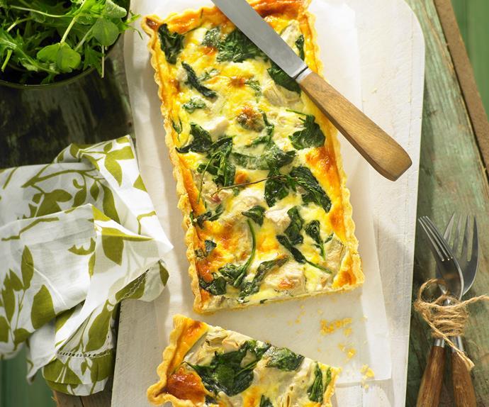 Artichoke, Gruyere and Spinach Quiche