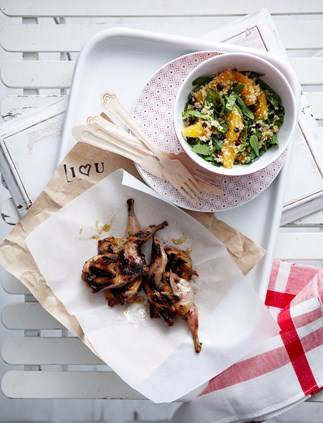 Barbecued quail with burnt butter couscous